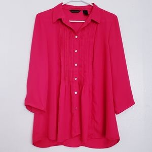 Hot pink button smock tunic top blouse